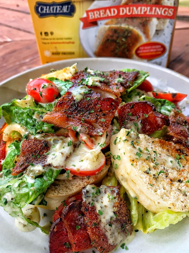 Bacon Lettuce and Tomato Salad with toasted Czech Bread Dumplings