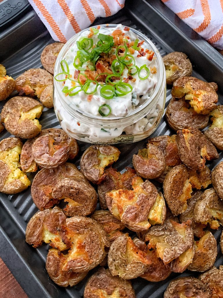Baby potatoes with a sour cream bacon blue cheese dip